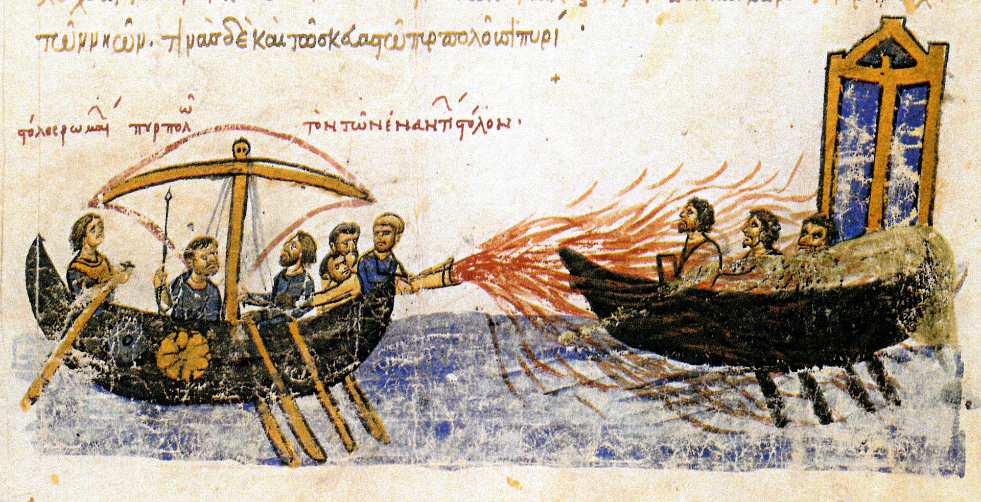 Ačkoliv recept na Řecký oheň je nejspíš navždy ztracen, dochovala se alespoň iluminace zachycující jeho použití.