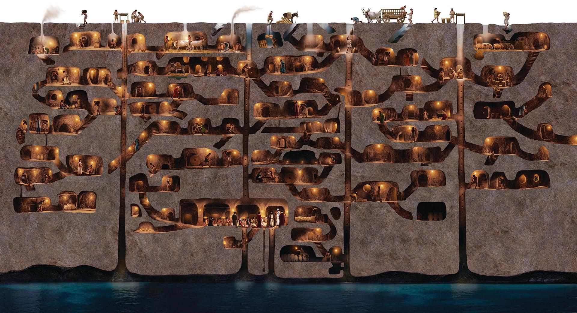 Ilustrace Tureckého podzemního města Derinkuyu.