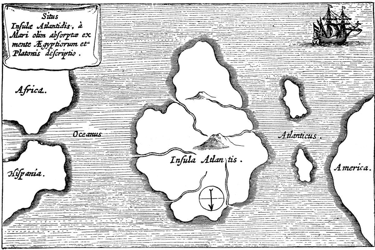Mapa Atlantidy od Athanasiuse Kirchera, která ji umisťuje doprostřed Atlantiku. Mapa byla vydána v roce 1669 v knize Mundus Subterraneus v Amsterodamu. Mapa je orientována tak, že jih je nahoře.