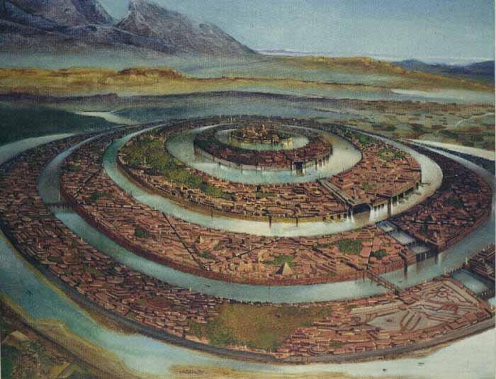 Zpodobnění Atlantis podle Platónova popisu.