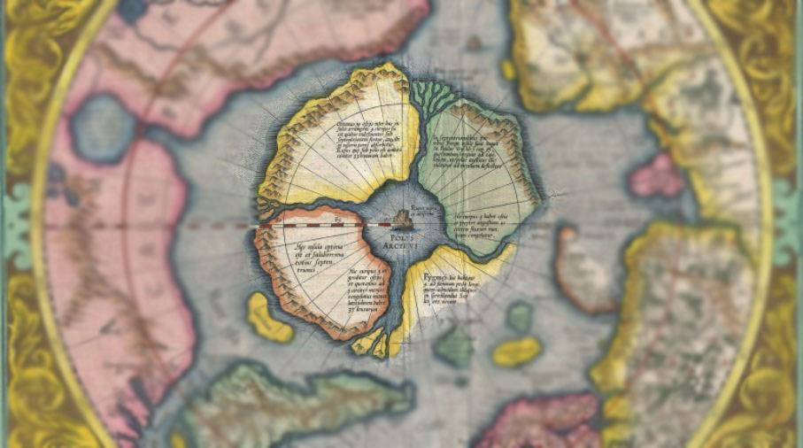 Mapa dánského badatele Willema Barentsze zobrazující Arktidu skládající se z několika ostrovů.