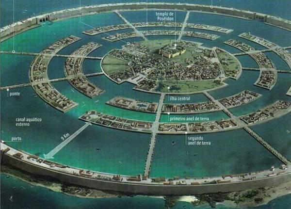 Ilustrace zobrazující Atlantidu v představách umělce.