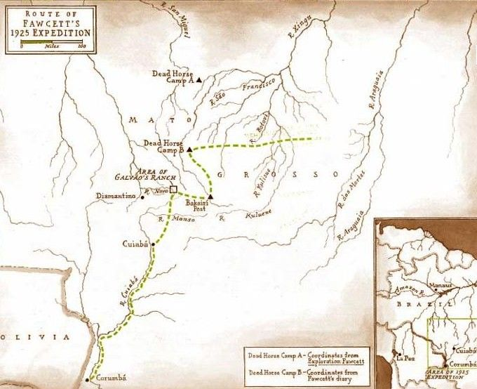 Trasa, kterou se vydal plukovník Percy Harrison Fawcett při hledání ztracneého města Z.